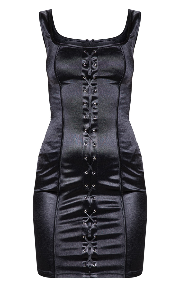 Black Lace Up Square Neck Bodycon Dress 4