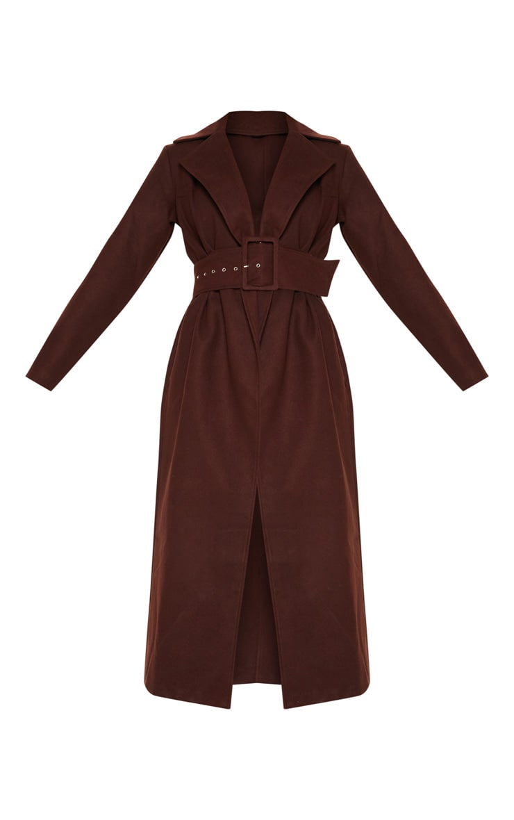 Tall Chocolate Brown Belted Coat  3