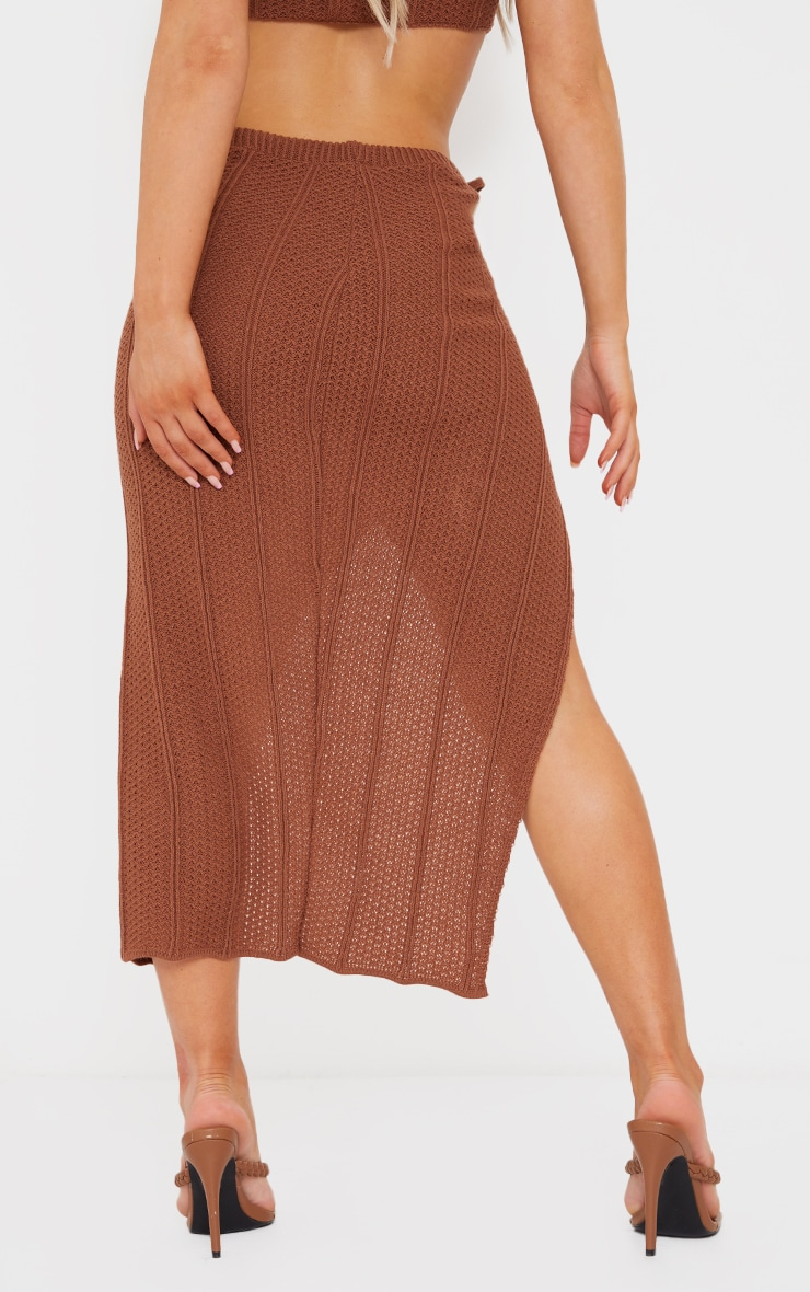 Rust Pointelle Tie Side Ruched Skirt 3