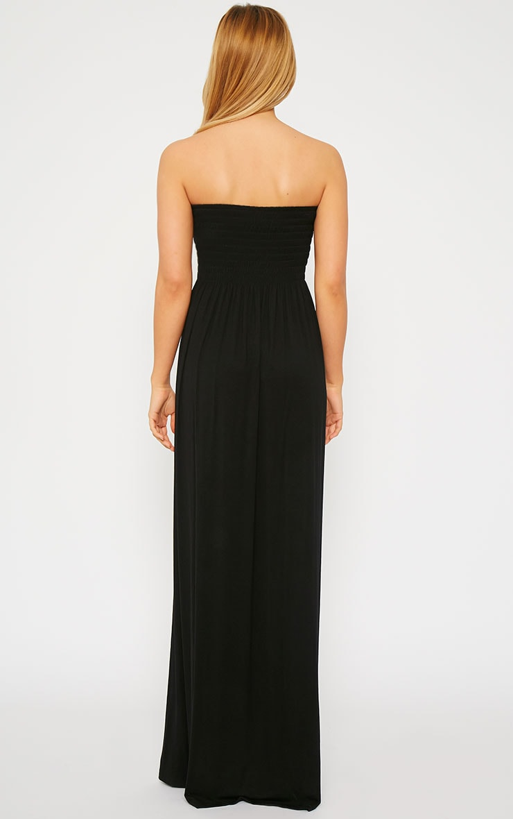 Tamara Black Elasticated Bandeau Jersey Maxi Dress 3