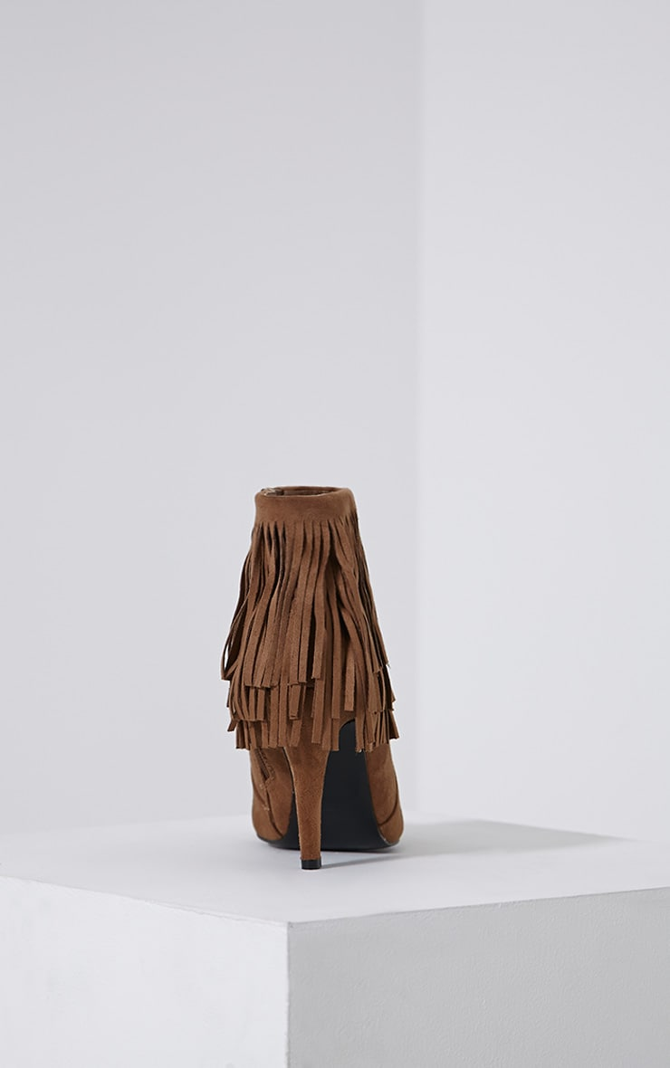 Torah Tan Pointed Fringe Suede Boots 5