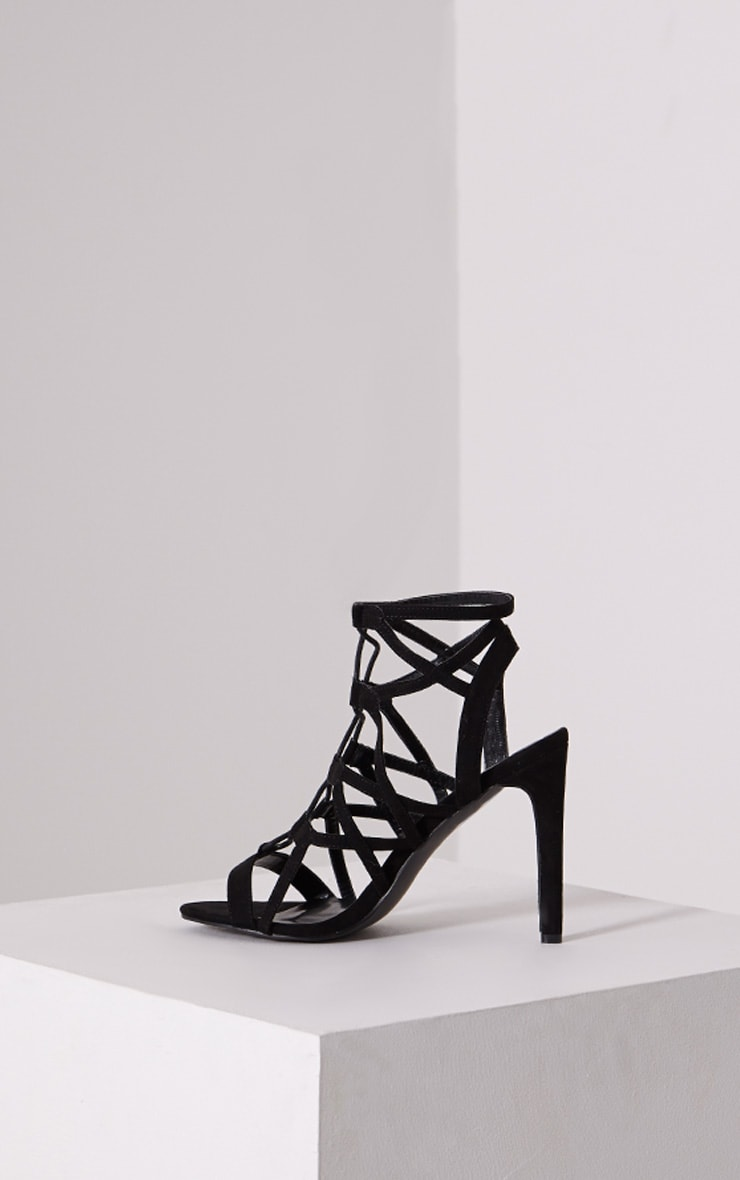 Nancy Black Cut Out Lace Up Heels 4