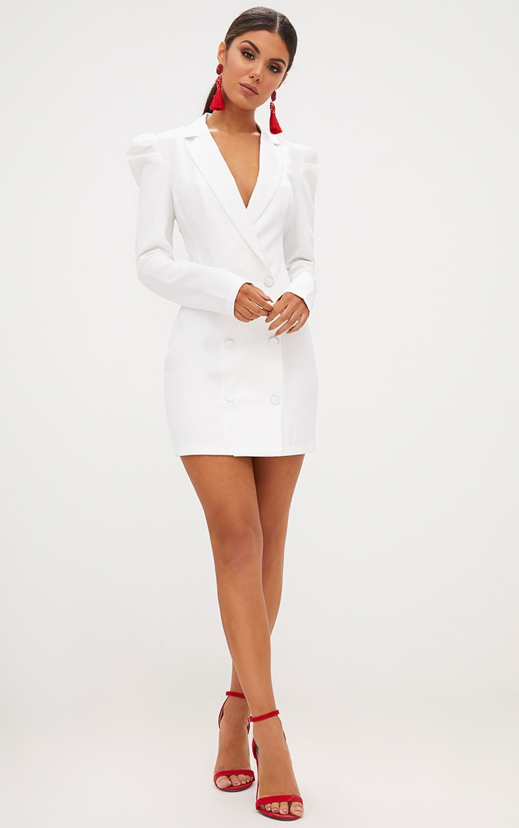 White Puff Sleeve Button Up Blazer Dress 4