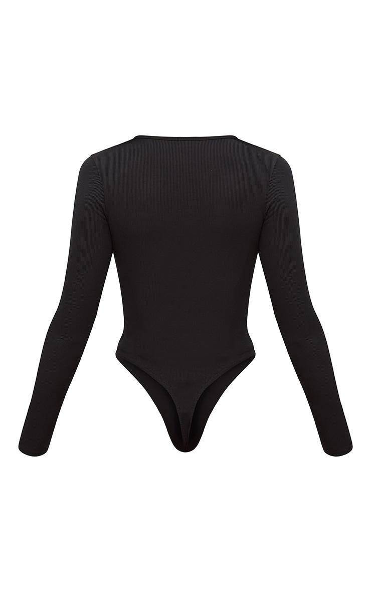 Black Popper Front Rib Longsleeve Thong Bodysuit  4