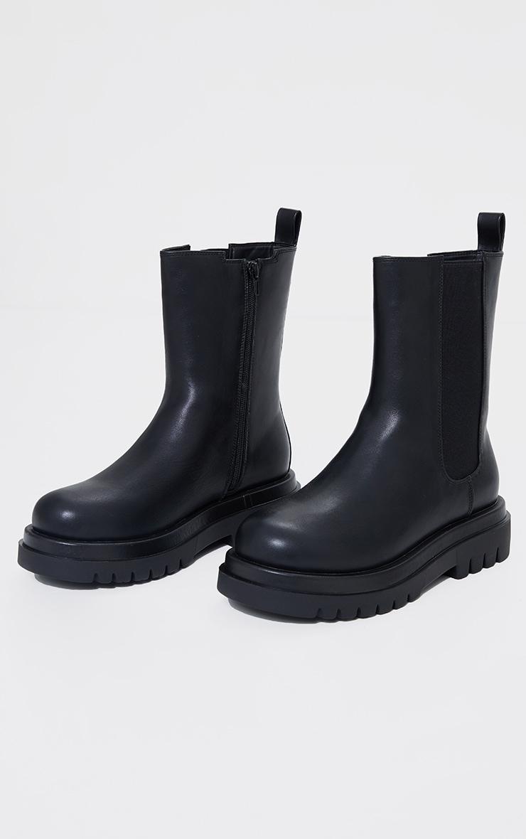 Black Wide Fit PU Calf High Vamp Chelsea Boots 1