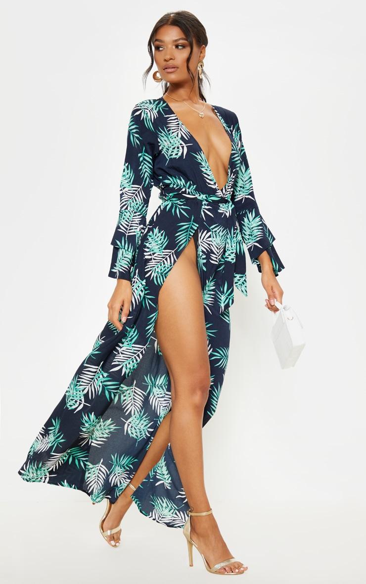 Navy Tropical Print Split Front Maxi Dress 1