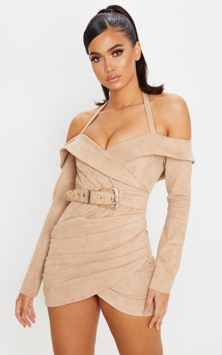 Stone Faux Suede Bardot Dress 1