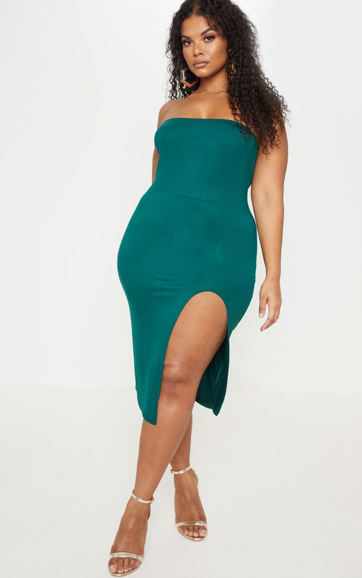 Plus Emerald Green Bandeau Split Front Midi Dress 1