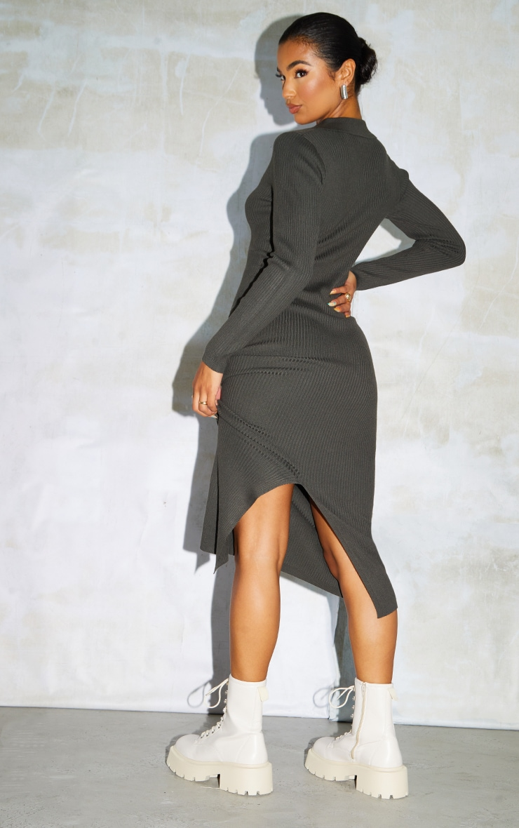 Khaki Half Zip Collar Detail Knit Maxi Dress 2