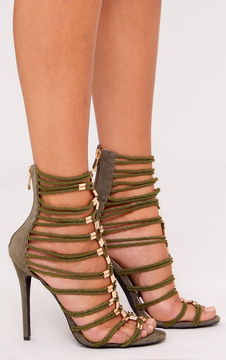 Fern sandales gladiateur kaki à talons 3