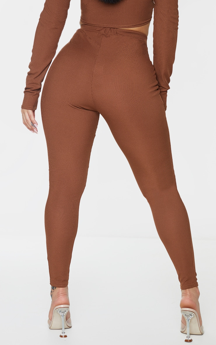 Shape Chocolate Brown Ribbed Detail High Waist Leggings 3