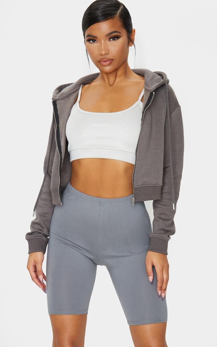 Charcoal Grey Cotton Stretch Cycling Shorts 1