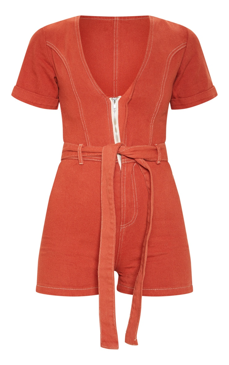 Tobacco Belted Denim Playsuit 3