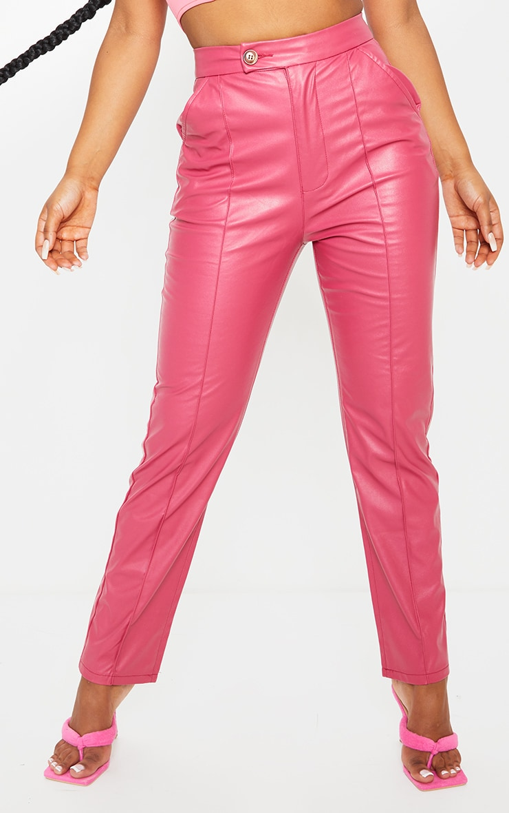 Hot Pink Faux Leather Pintuck Detail Straight Leg Trousers 2