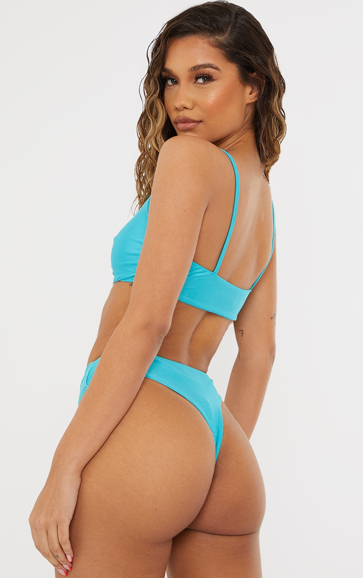 Blue Ruched Front Scoop Bikini Top 2
