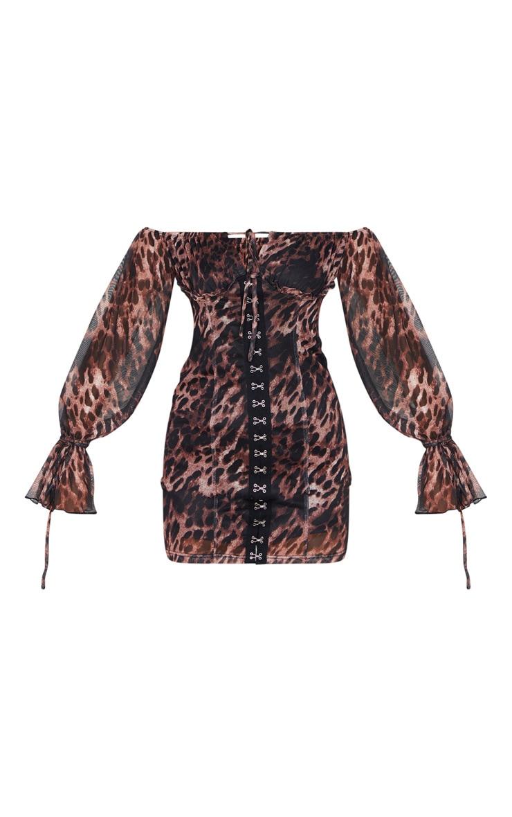 Brown Leopard Print Chiffon Sleeve Hook & Eye Bodycon Dress 3