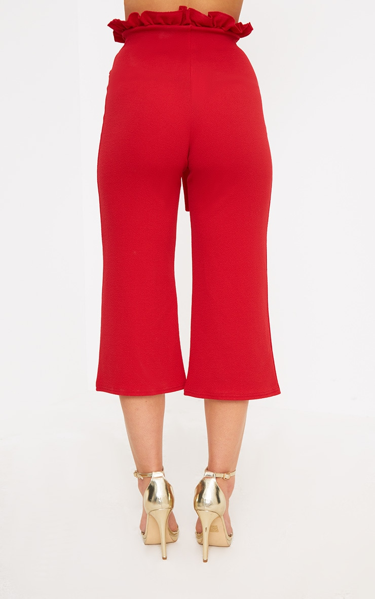 Petite Red Paperbag Waist Culottes  4