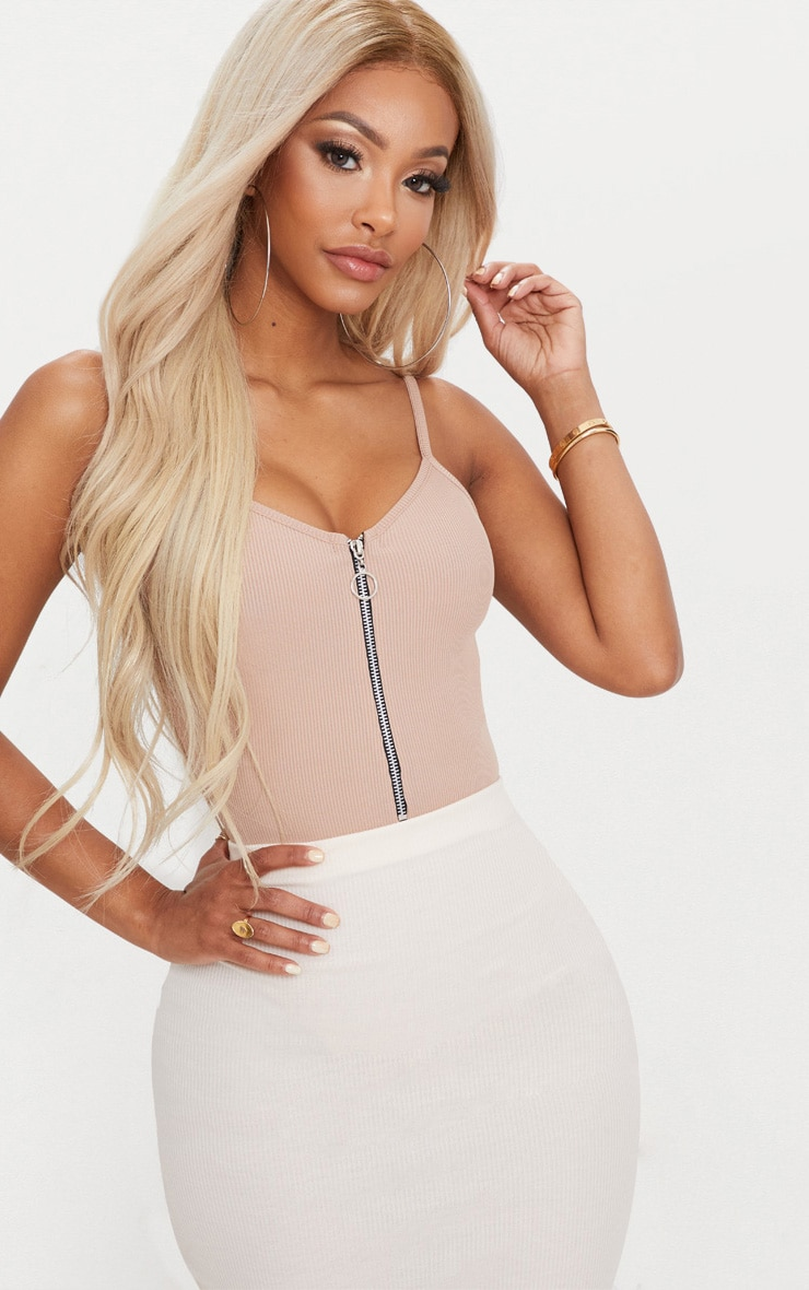 Shape Nude Ribbed Ring Pull Bodysuit 1