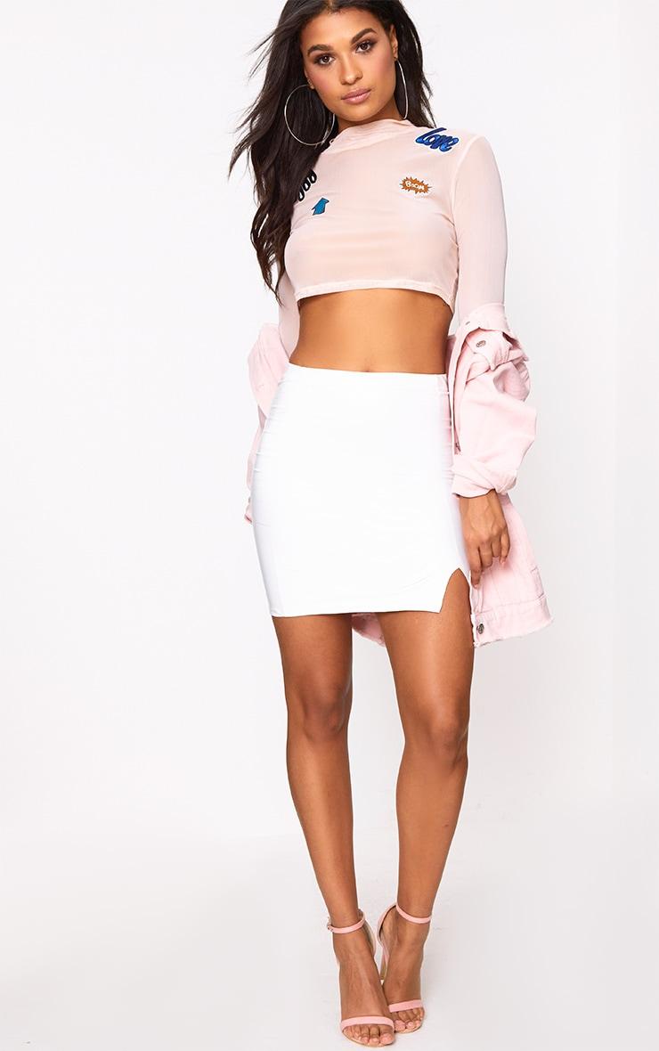 White Vinyl Side Split Mini Skirt 5