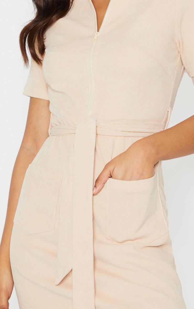 Stone Cord Zip Front Tie Waist Shirt Dress 6