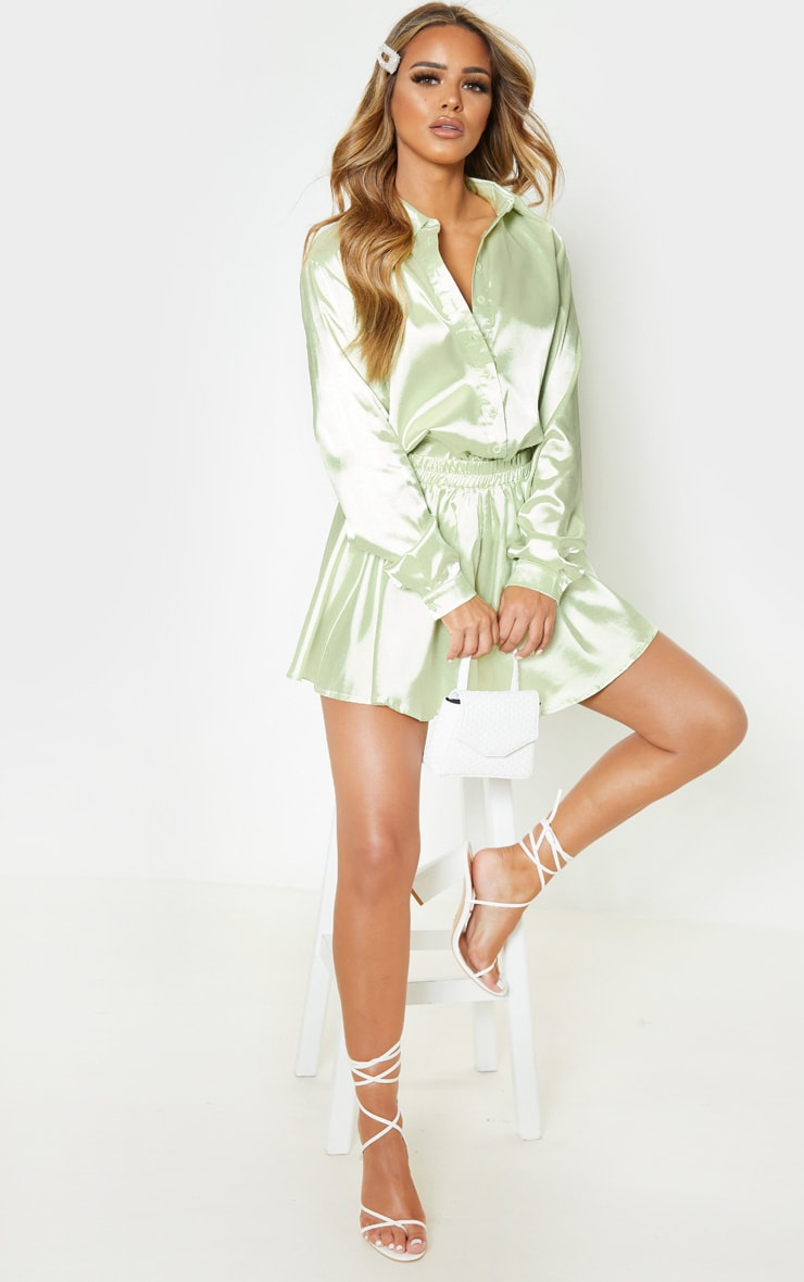 Petite Light Lime Satin Shirt 4