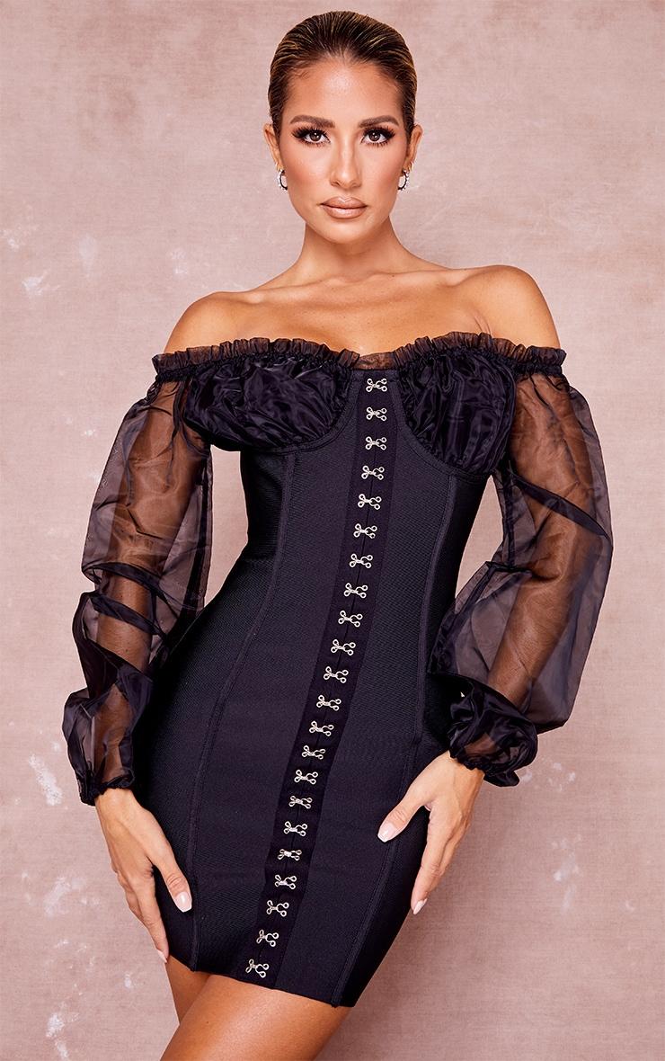 Black Bandage Chiffon Hook and Eye Bardot Bodycon Dress 1