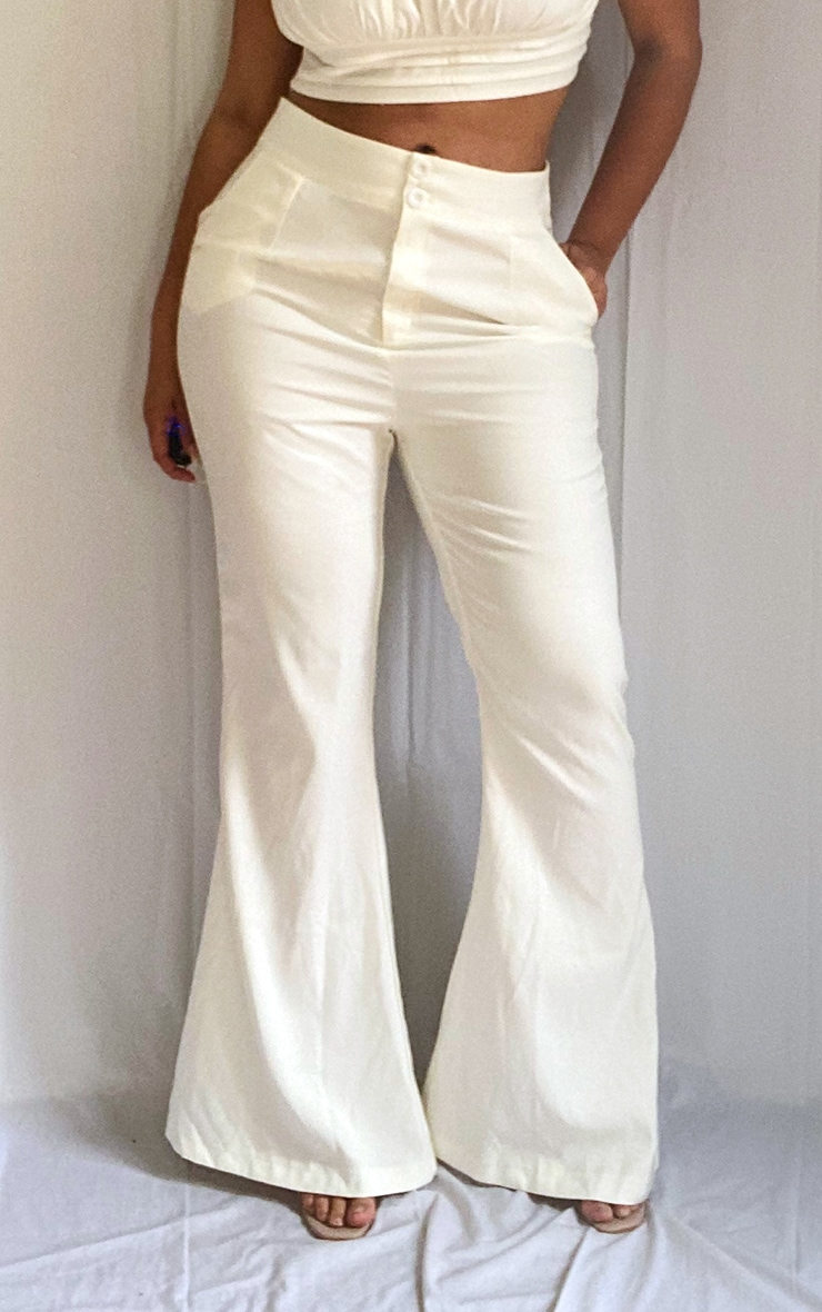 Plus White High Waisted Double Button Waist Flare 2
