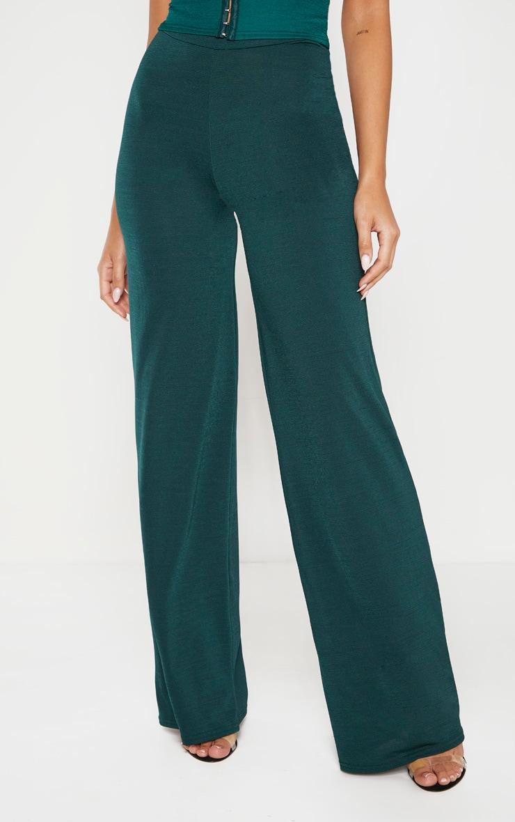 Emerald Green Slinky Wide Leg Pants  2