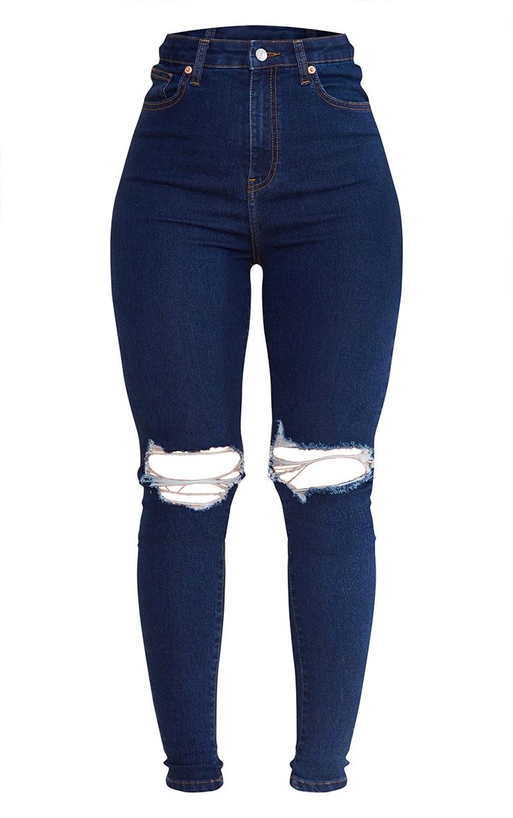 PRETTYLITTLETHING Dark Vintage Wash 5 Pocket Knee Rip Skinny Jeans 5