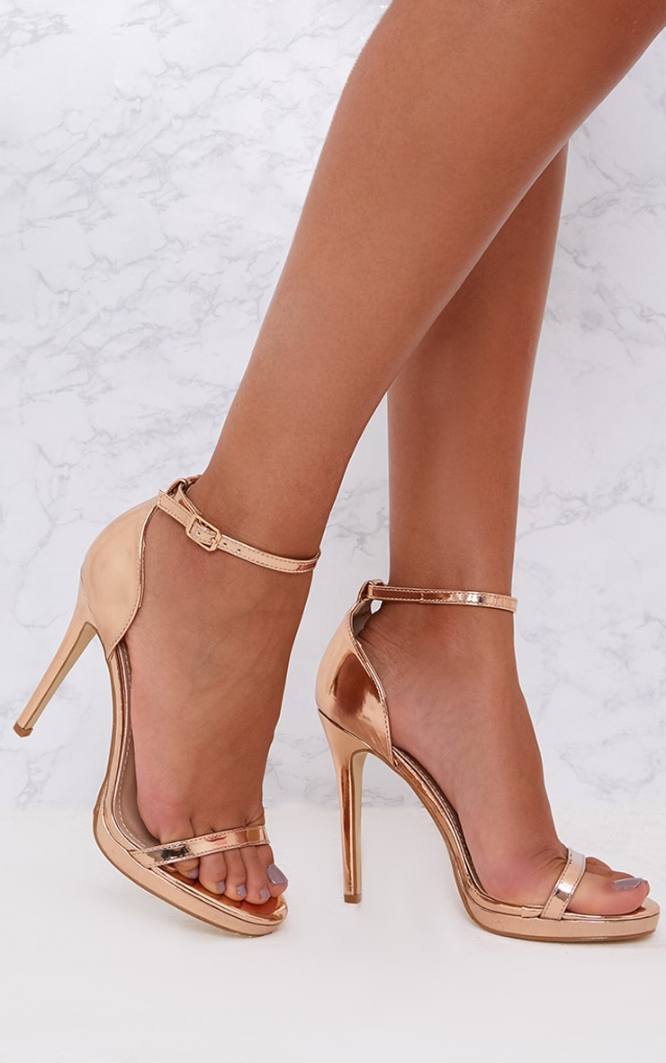Rose Gold Single Strap Heeled Sandals 1