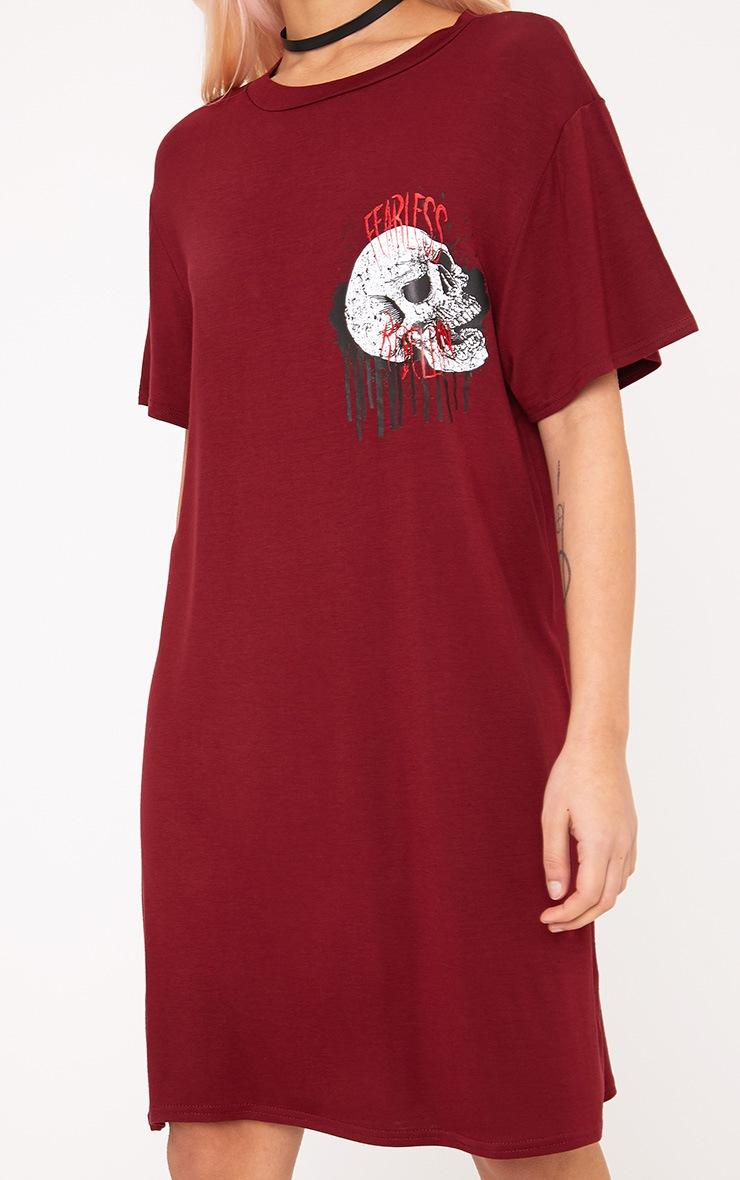 Fearless Rebellion Burgundy T Shirt Dress  5