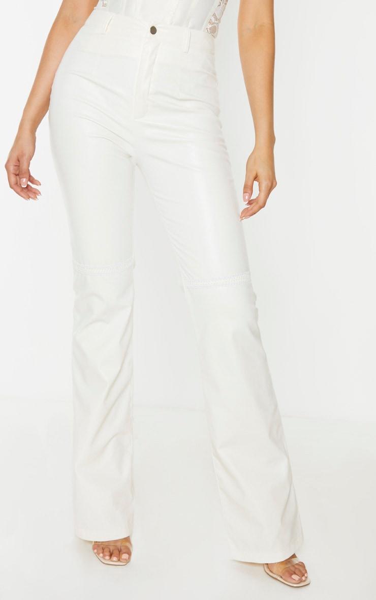Tall White PU Straight Leg Pants 2