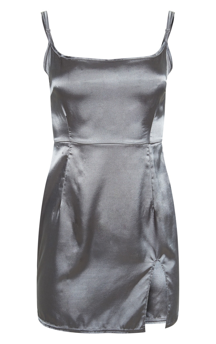 Charcoal Slit Front Satin Shift Dress  3
