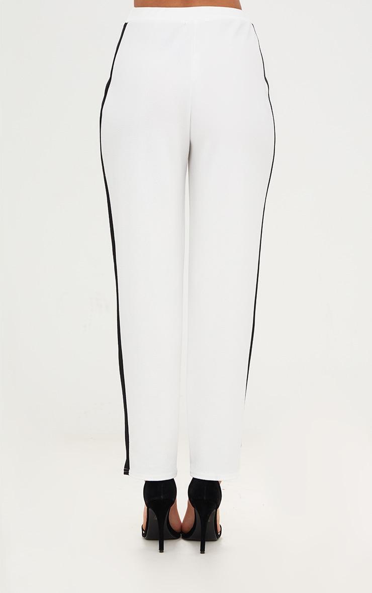 White Contrast Stripe Straight Leg Trouser 2