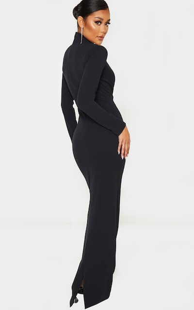 Black High Neck Extreme Plunge Maxi Dress