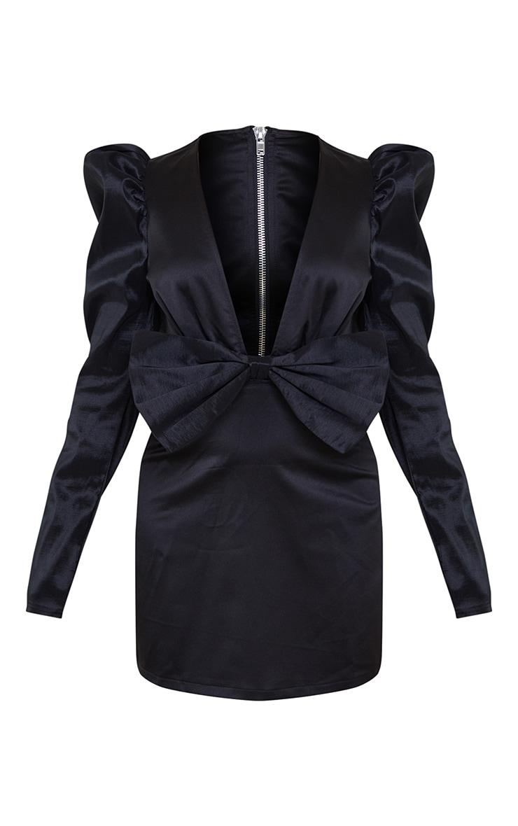 Petite Black Satin Puff Shoulder Bow Detail Dress 5