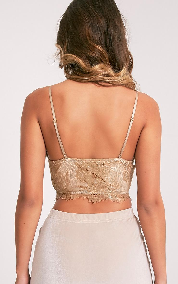 Hannah brassière corset en dentelle dorée 2