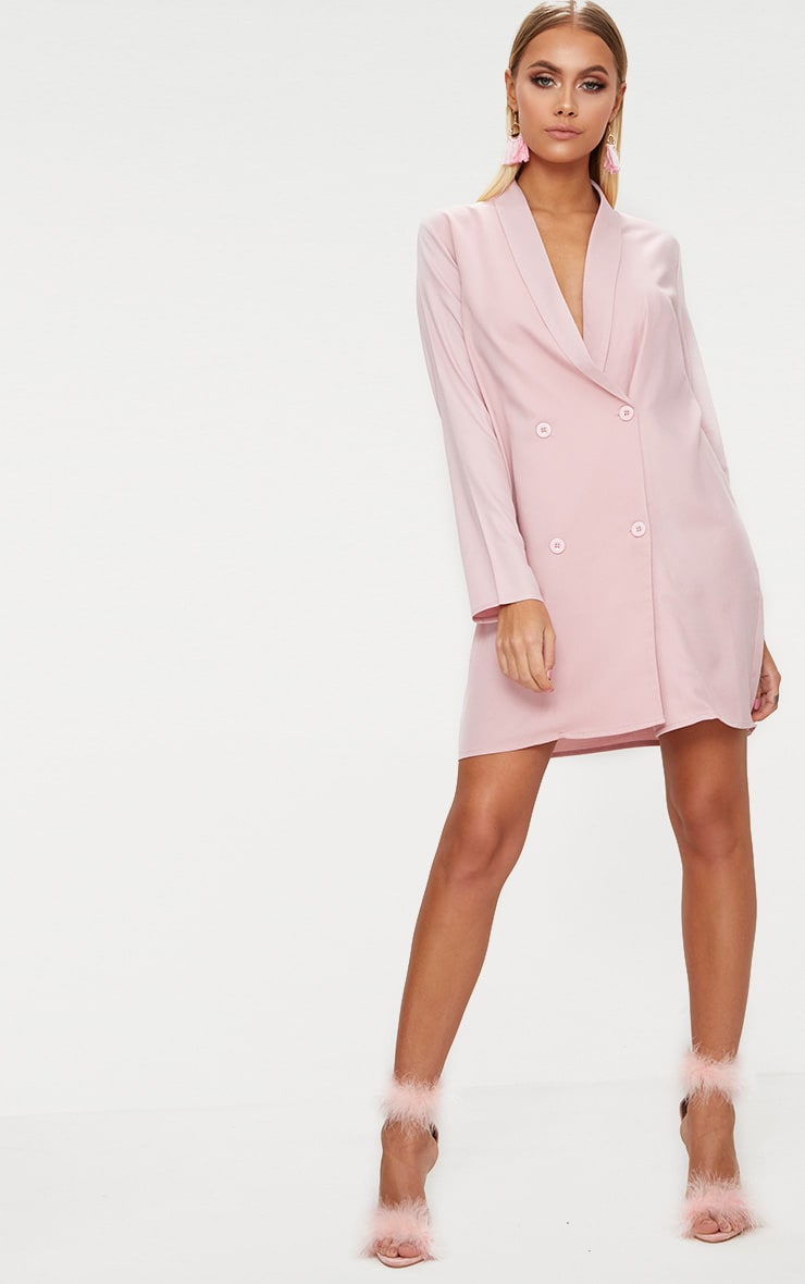 Dusty Pink Oversized Blazer Shift Dress 4