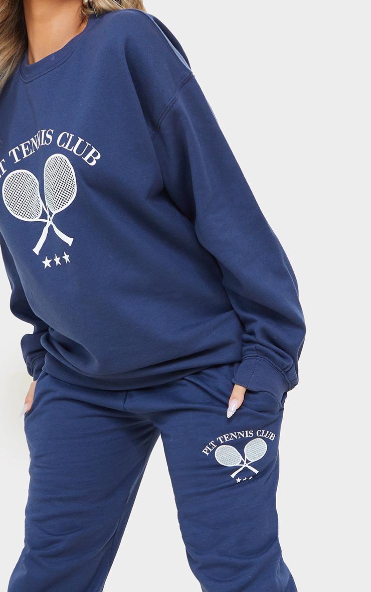 PRETTYLITTLETHING Petite Blue Tennis Club Oversized Jogger 4