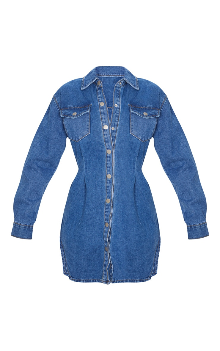 Mid Wash Cinched Waist Long Sleeve Denim Dress 3