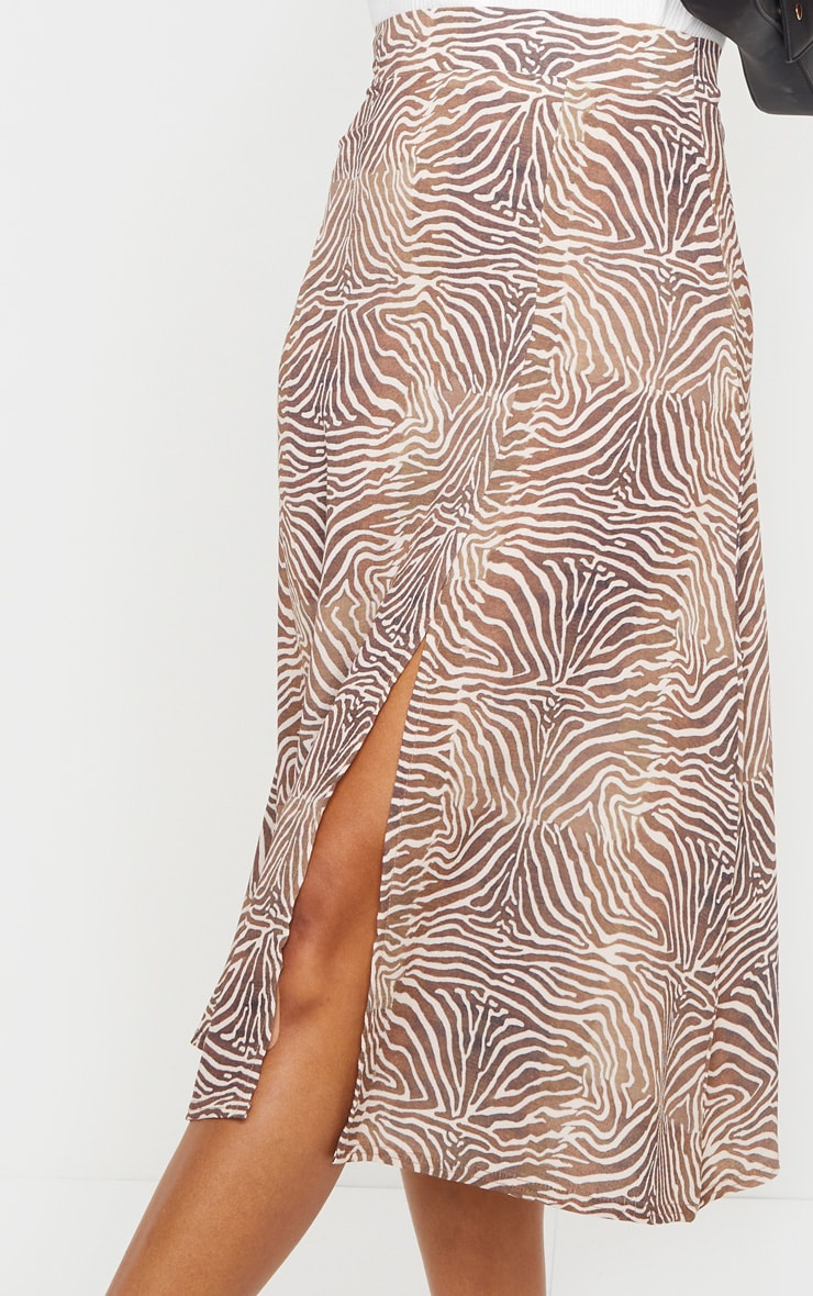 Brown Zebra Floaty Midi Skirt 4