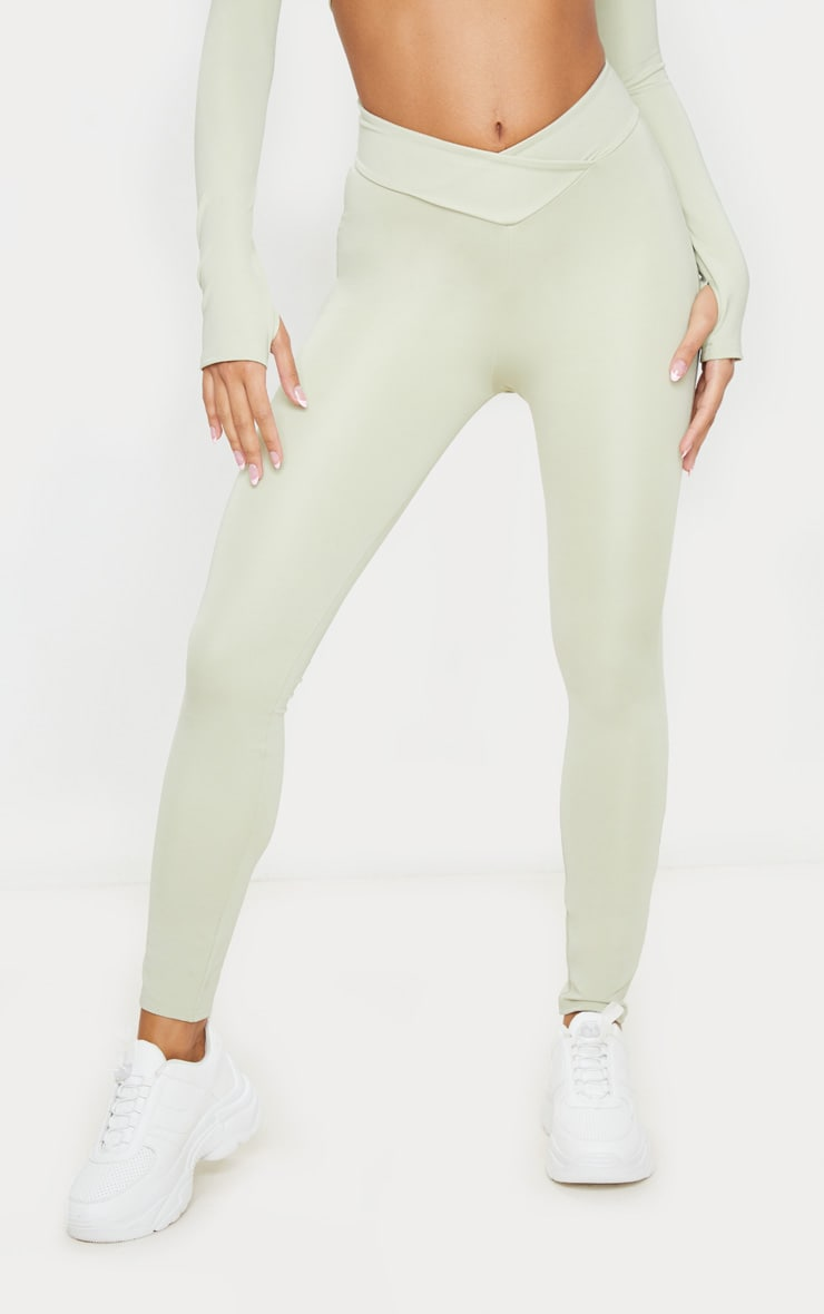 Sage Green V Front Gym Leggings 2