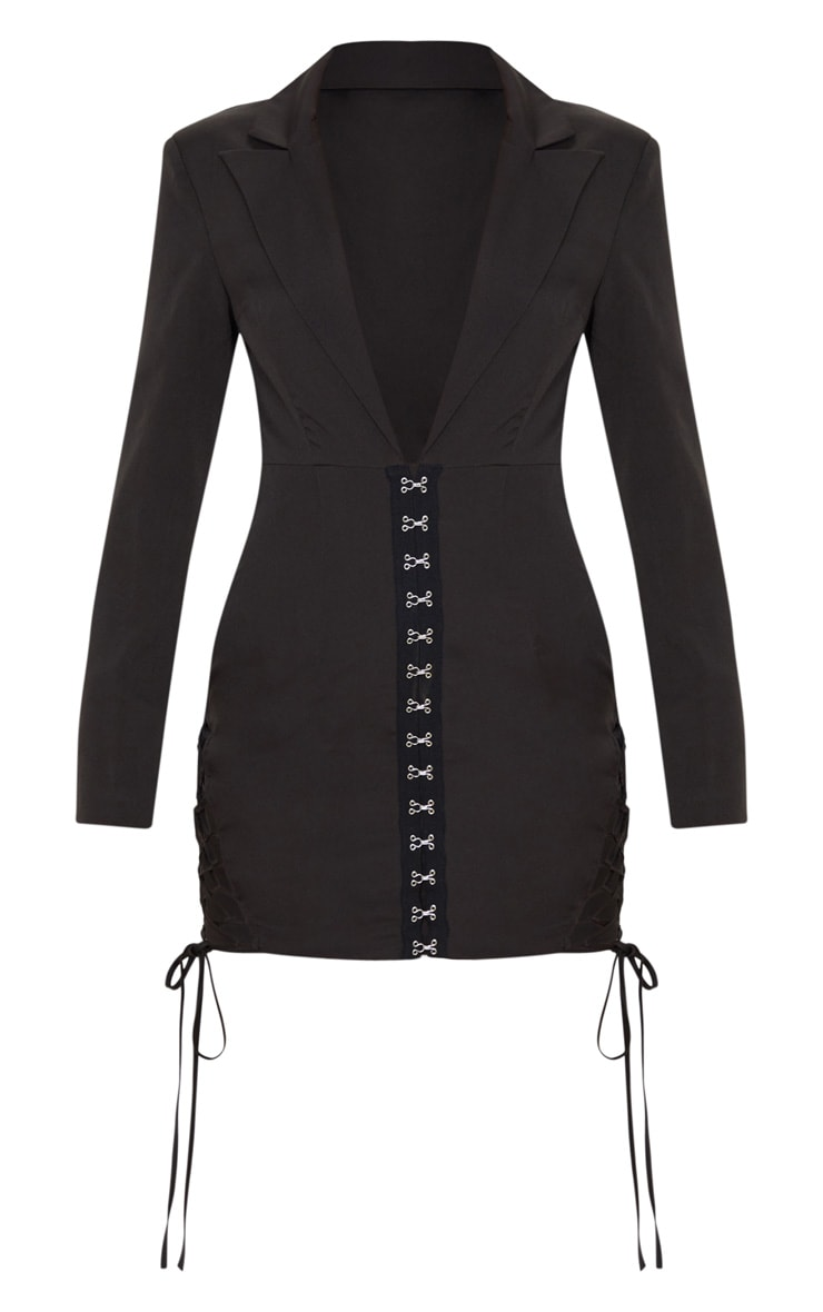 Black Hook And Eye Lace Up Detail Long Sleeve Blazer Dress 3