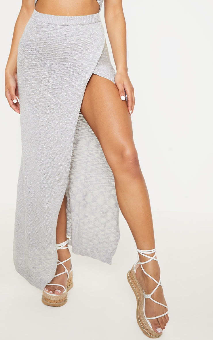 Grey Split Front Knitted Maxi Skirt 2