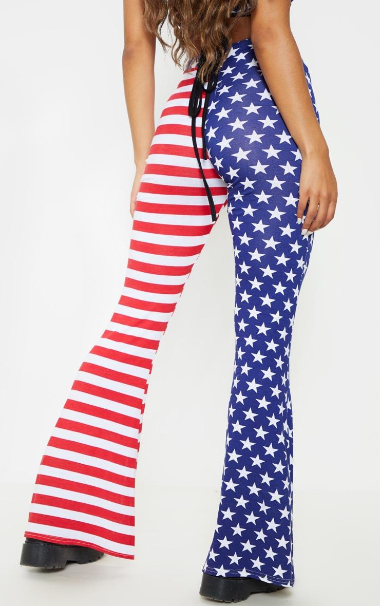 Multi American Flag Printed Flare Leg Pants 4