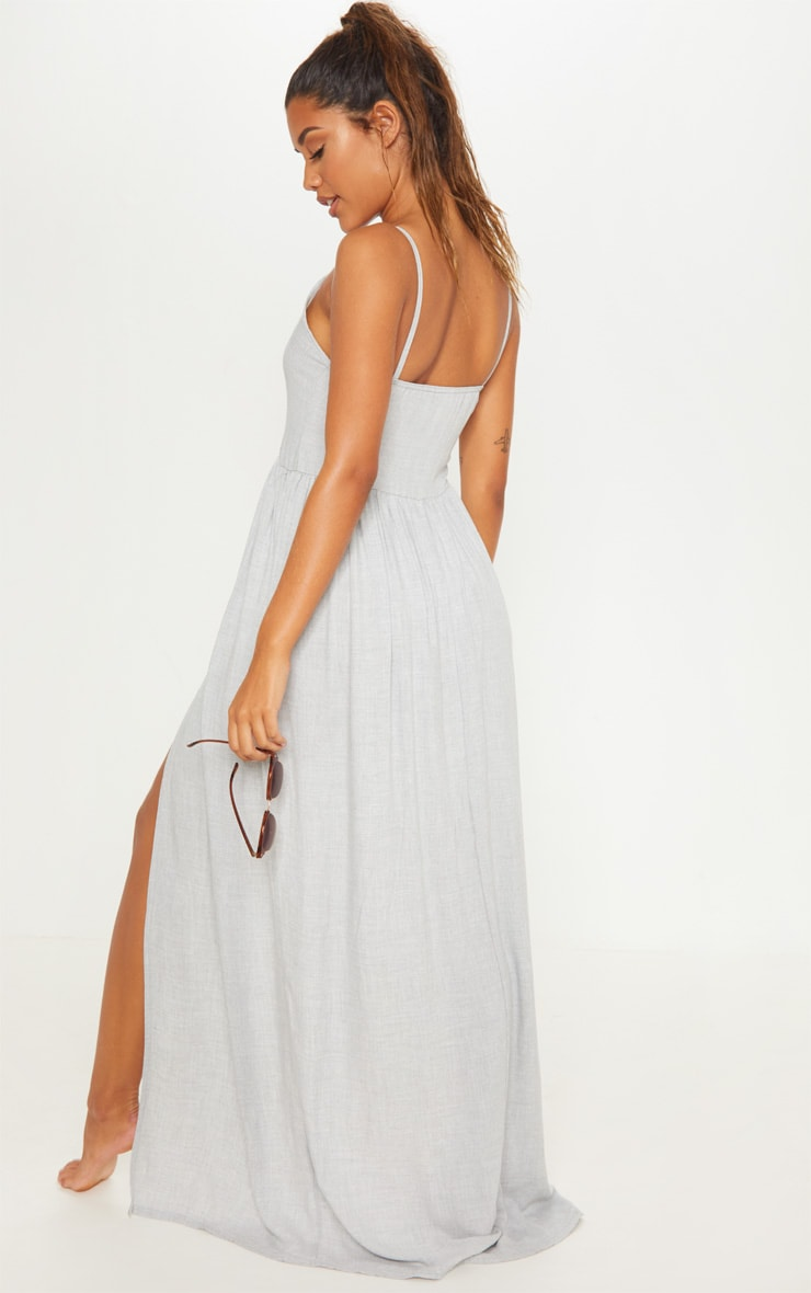 Grey Split Leg Button Beach Dress 2