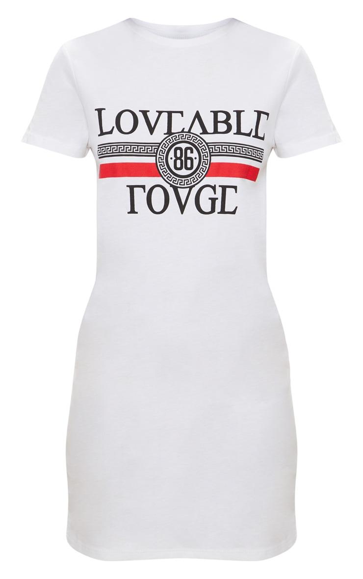 Petite White Loveable Rouge Slogan T-Shirt Dress 3