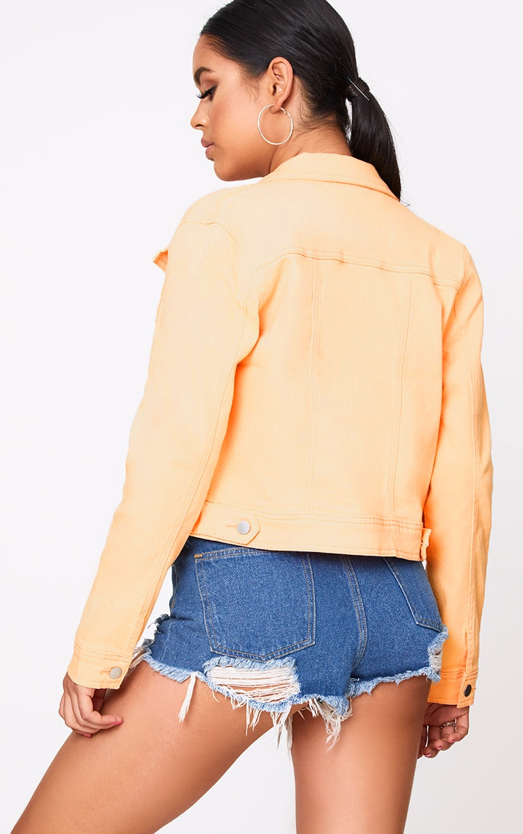 Peach Cropped Denim Jacket 2