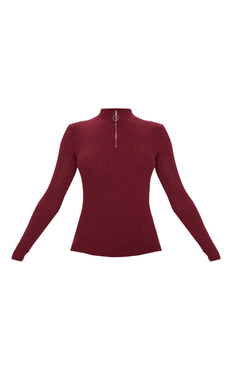 Wine Zip Front Knitted Rib Top 3