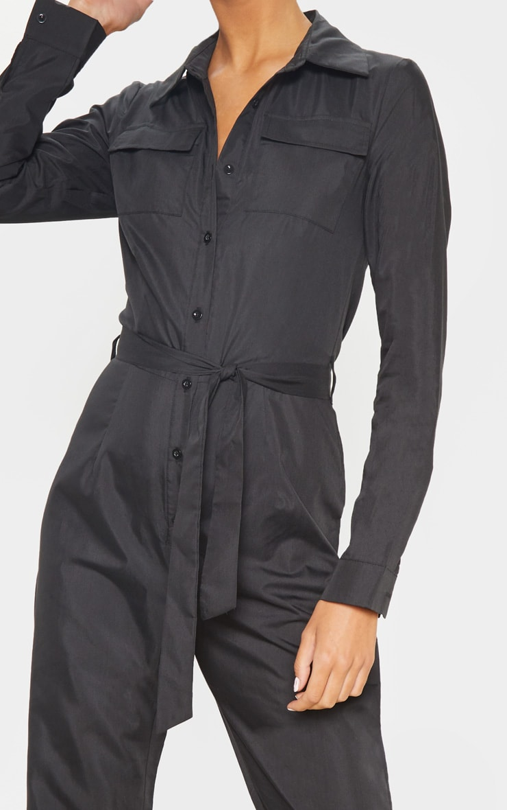 Tall Black Square Pocket Long Sleeve Utility Jumpsuit 5